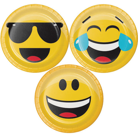 8 Emojion Face Party Plates - 7""