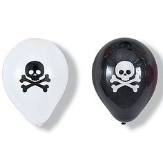 6 Pirate Skull Latex Balloons - Black & White