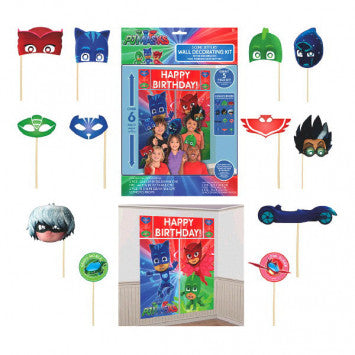 PJ Masks Party Photo Props & Wall Scene Setter