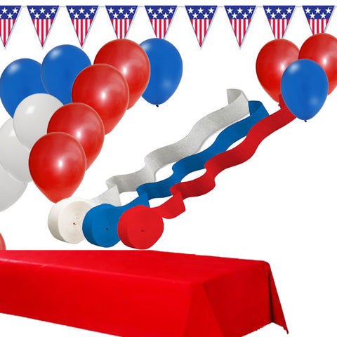 Red White Blue Streamers, Balloons, Pennant Banner, Table Cover