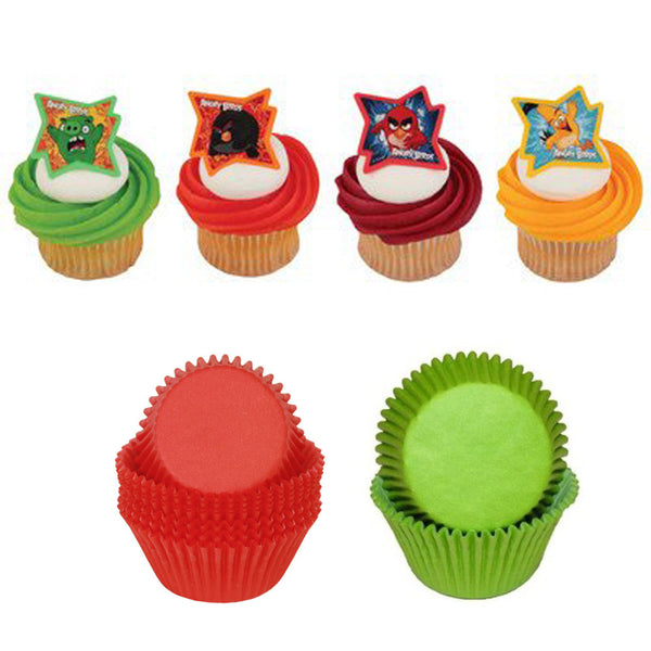 Angry Birds - Why So Angry? Cupcake Rings & Red/Green Cups - 48