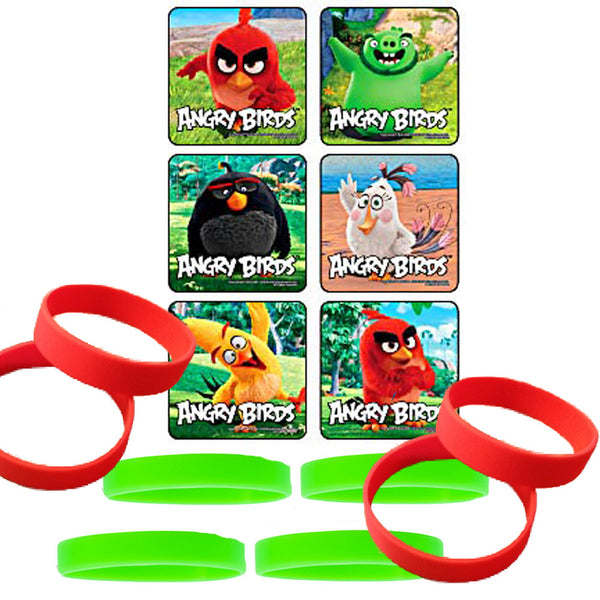 Angry birds stickers and wristbands