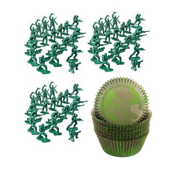 50 Army Soldier Men & Camouflage Camo Cupcake Cups