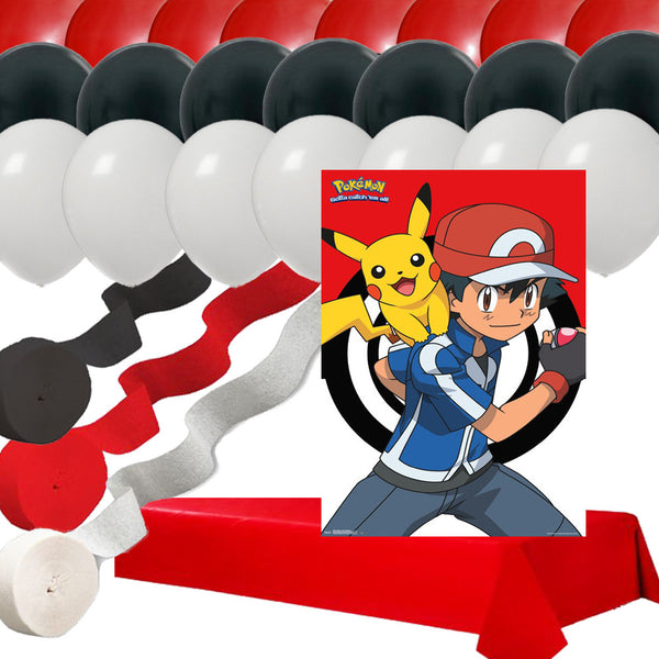 Pokemon Pikachu Ash Poster: 24 Balloons 3 Streamers Red Table Cover