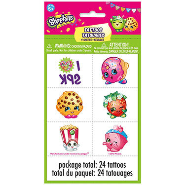 24 Temporary Tattoos Shopkins Party Favors