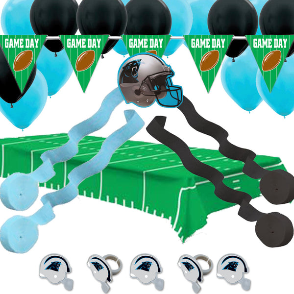 carolina panthers nfl decorations: banner tablecover balloons streamers rings