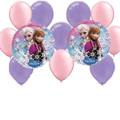 Mylar Latex Party Balloon Set - Frozen - Pink Purple (12)