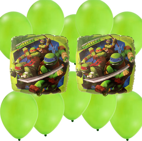 Mylar Latex Party Balloon Set - Ninja Turtles - Green (12)