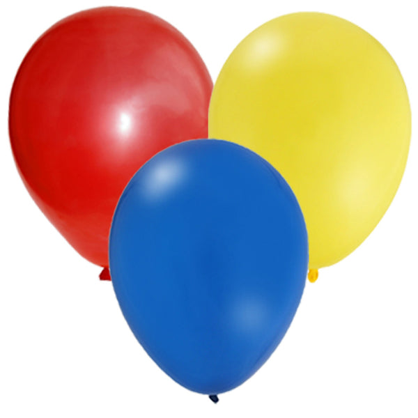 Latex Party Balloon Set - Red, Yellow, Blue  (24)