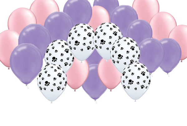 Latex Party Balloon Set - Paw Print, Purple, Pink, Girl (30)