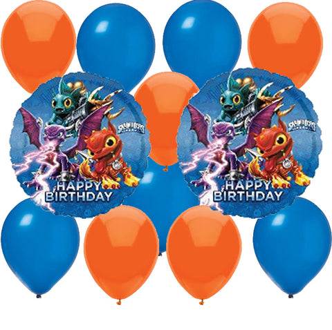 Mylar Latex Party Balloon Set - Skylanders - Orange Blue (12)