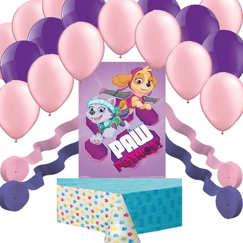 Paw Patrol Girl Pups Skye Everest Poster, Balloon, Streamer, Tablecover Party Decoration Set