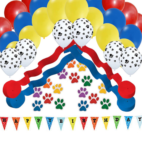 Puppy Dog Party Paw Banner - Balloons - Streamers Decoration Set