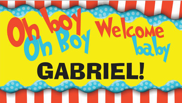 Personalized Baby Shower Banner- DRS OH BOY OH BOY
