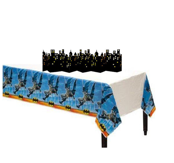 Superhero Marvel Batman Plastic Table Cover & Skyline Decoration