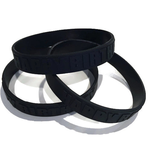 "Black ""Happy Birthday"" Wristbands - Youth Party Favors"