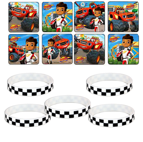 24 Blaze & the Monster Machines Stickers / 12 Checkered Favor Wristbands