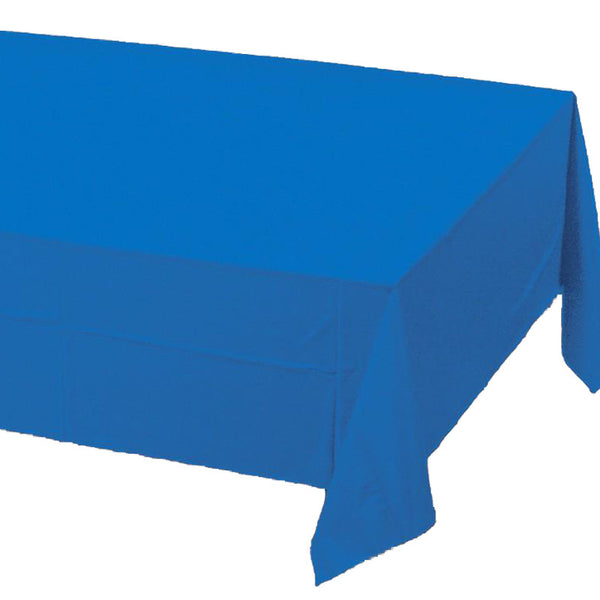 blue plastic table cover