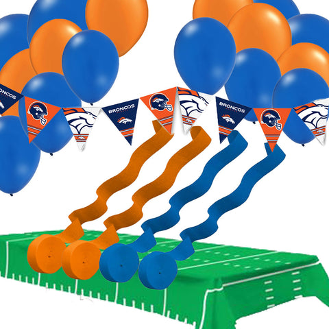 Denver Broncos Pennant Banner Balloons Streamers Tablecover