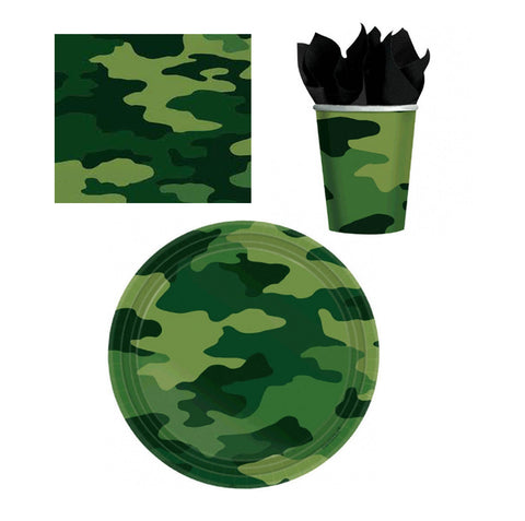 Camouflage Army Tableware Set: 8 Plates, 8 Cups, 16 Napkins