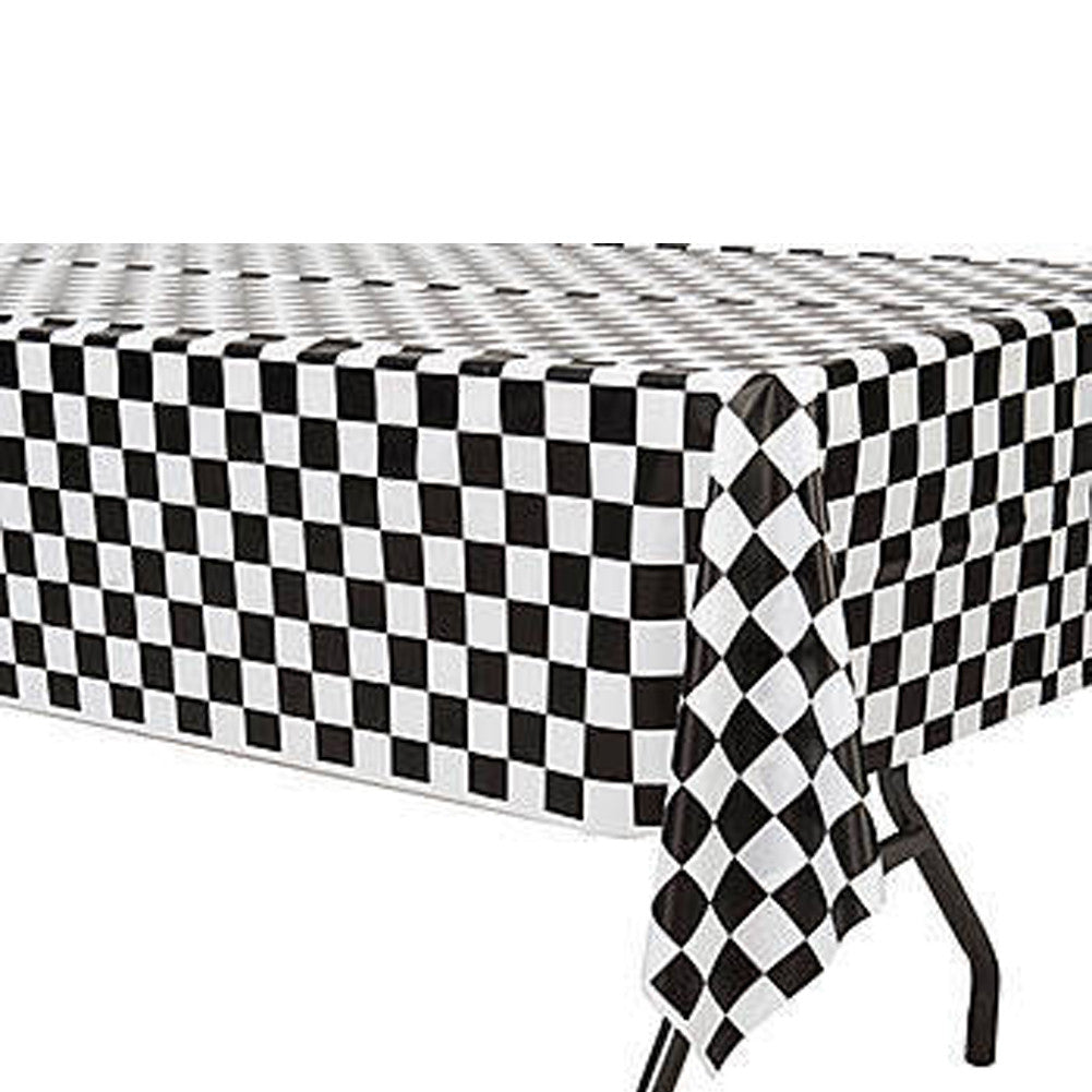 Checkered Racing Plastic Rectangle Table Cover Party Majors