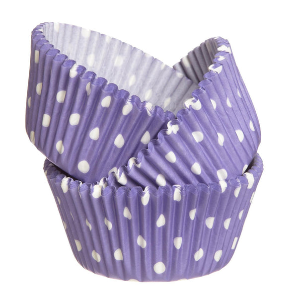 purple polka dot baking cups