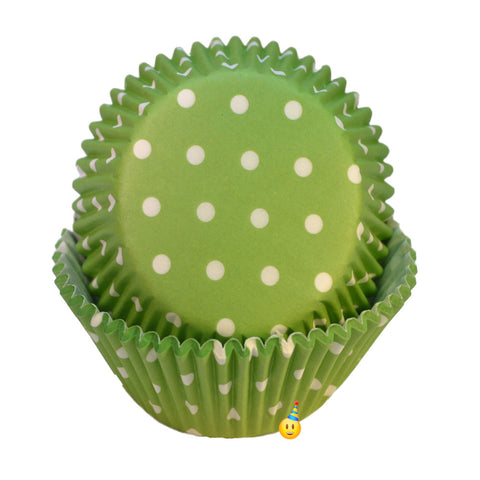 Green Yellow polka dot white cupcake cups