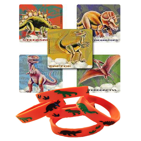 24 Classic Dinosaur Stickers & 12 Dinosaur Party Favor Wristbands