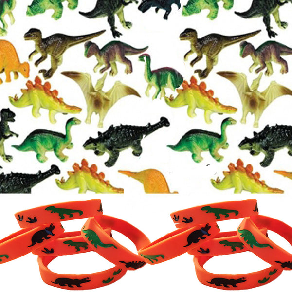 12 Wristbands & 24 Prehistoric Dinosaur Figures - Party Favors