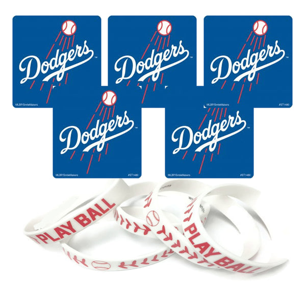 Dodgers stickers and wristbands