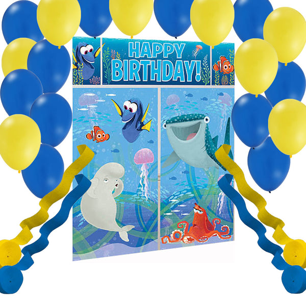 Finding Dory Wall Banner Scene, Party Balloons, Streamers
