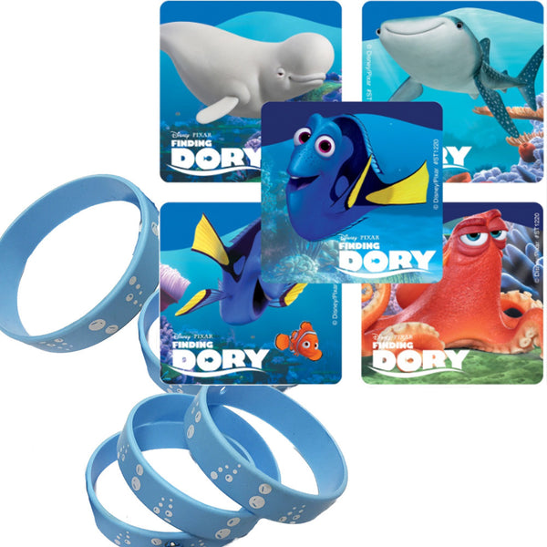24 Finding Dory Party Stickers & 12 Bubble Favor Wristbands