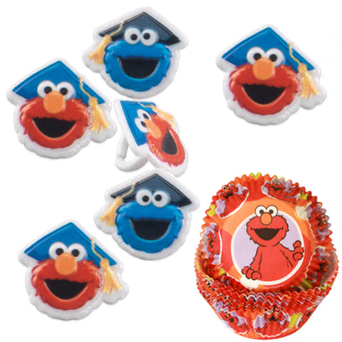 Elmo & cookie Monster graduation cupcake rings