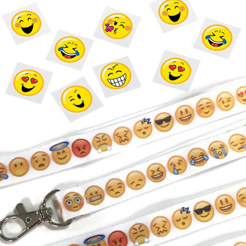 Emoji Happy Face Tattoos & Lanyards - Party Favors