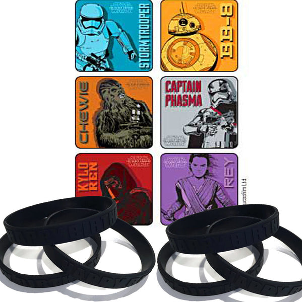 Force Awakens stickers and wristbands