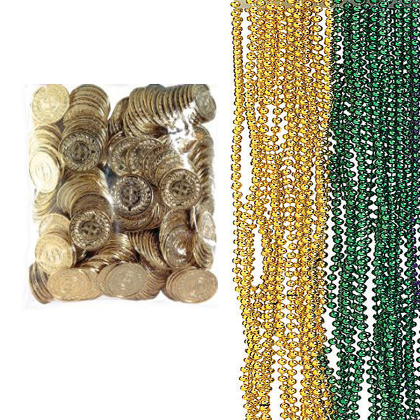 10 Gold / Green Bead Necklaces & 50 Gold Plastic Coins - St. Patrick's Day Party Favors