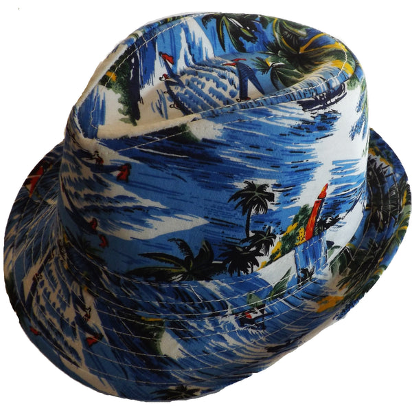 Boys Hawaiian Fedora Hat - Blue