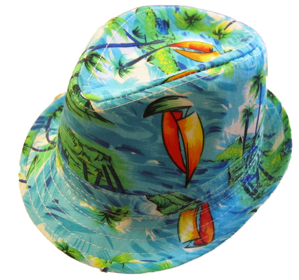 Boys Hawaiian Fedora Hat - Green