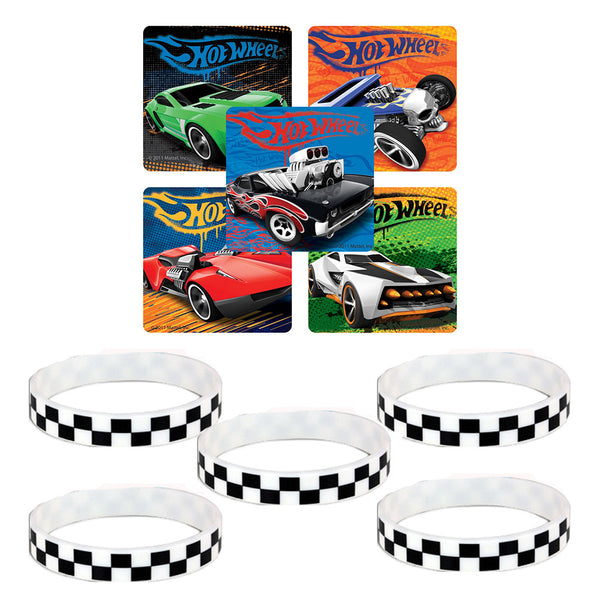 Hot wheels stickers checkered wristbands