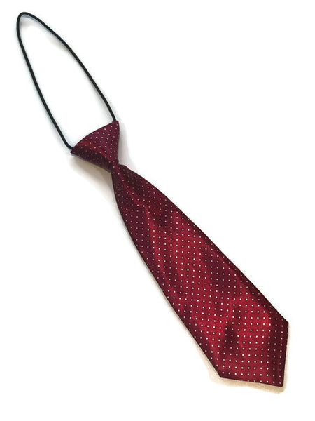 boys elastic neck tie red white dots