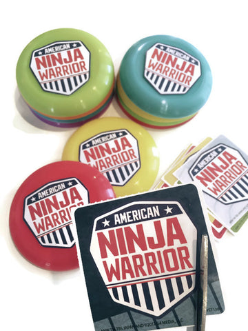 12 American Ninja Warrior Sticker Seals & 12 Party Favor Discs - DIY Set