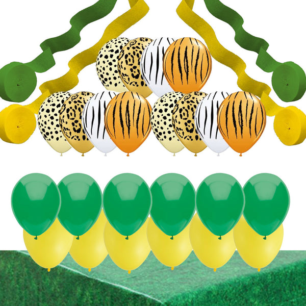 Jungle Party Decorations: Animal Print Balloons, Streamers, Table Cover
