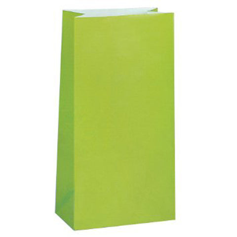 12 Paper Party Favor Treat Bags - Kiwi Green