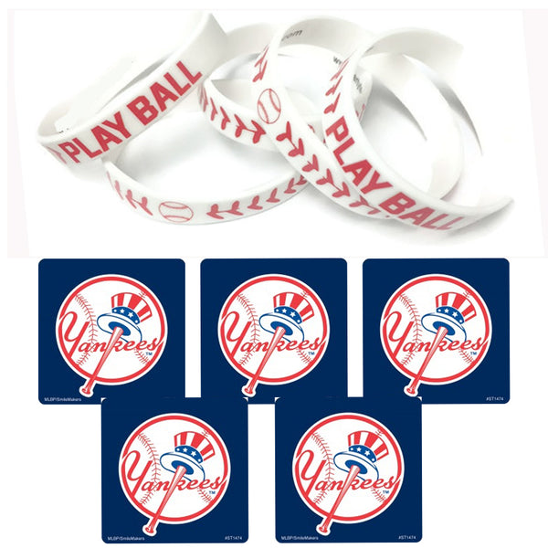 24 MLB New York Yankees Stickers & 12 Baseball Wristbands