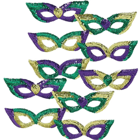 10 Mardi Gras Party Masks - Purple Gold Green