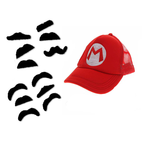Super Mario Baseball Hat (Mesh Back) & Adhesive Costume Mustaches