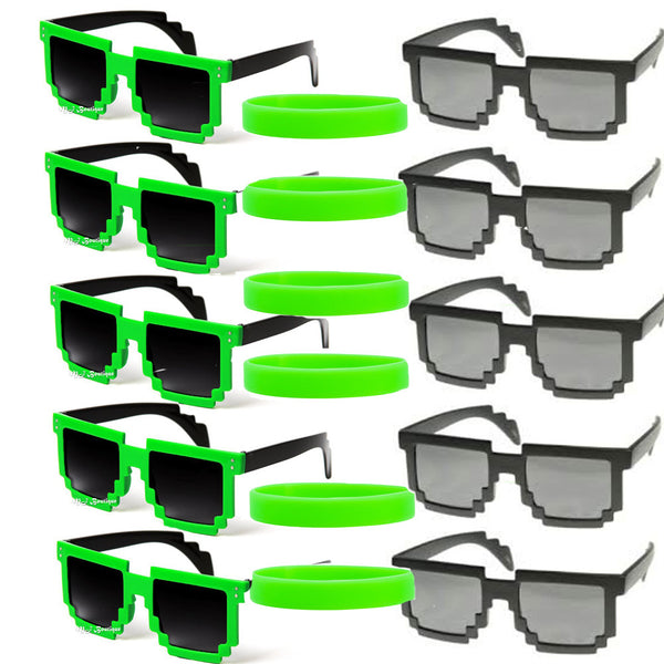 12 Pixel Green / Black Glasses & 12 Party Favor Wristbands