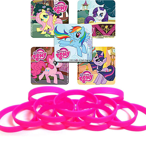 24 My Little Pony Stickers & 12 NEON Pink Youth Wristbands