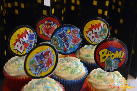 DIY Cupcake Set: PJ Masks Stickers, Super Hero Picks, Cups - 48