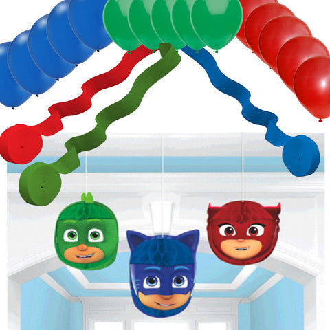 3 PJ Masks Hanging Honeycomb Balls & Streamers and Balloons - Cat Boy, Gekko, and Owlette